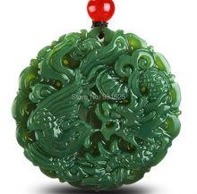 Verdadero Natural de Classic tallado Jade HeTian Dragon Phoenix colgantes de la suerte amuleto colgante de Jade collar de la joyería moda