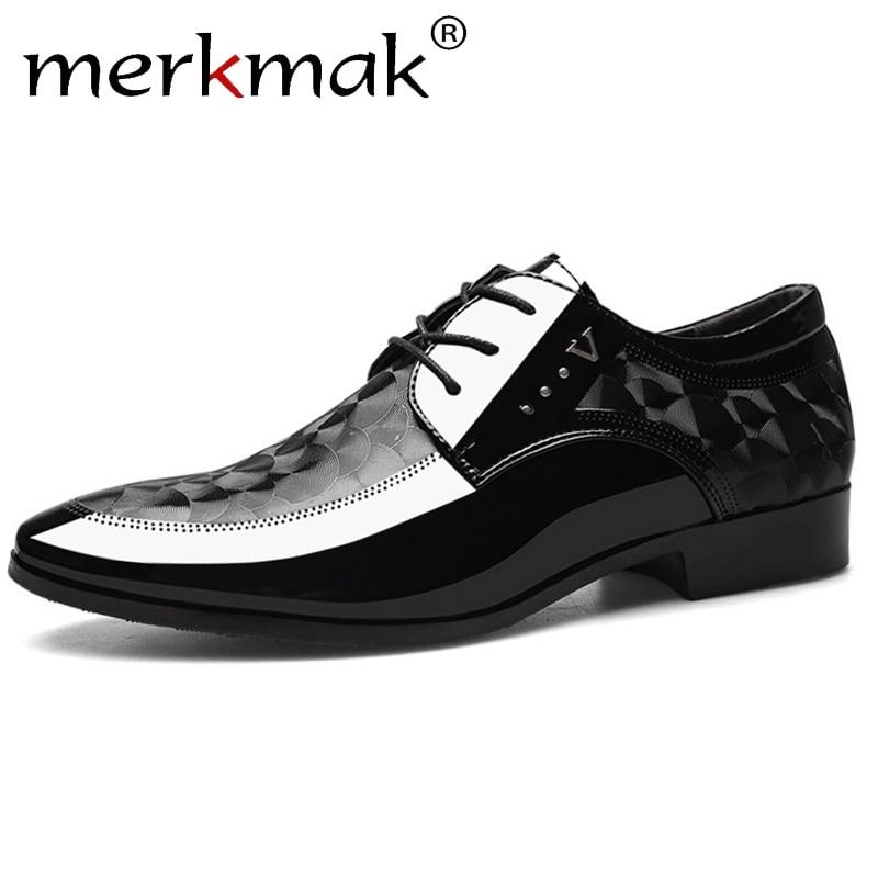 Merkmak Autumn Oxfords Leather Men's Shoes Casual Dress Shoes Men Lace Up Breathable Formal Office For Man Big Size 38-48 Flats
