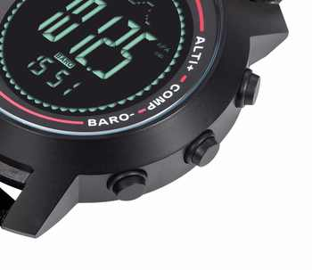 SPOVAN Fashion Black Men\'s Watch Genuine Leather Band 50M Waterproof Compass Pacer LED Multifunction Men Sport Watches MG01