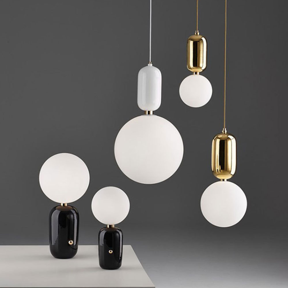 Nordic Creative Led Pendant Lights With Alloy For bedroom Restaurant Home Deco Hanging Lamp Modern Drop Light Fixture Glass Ball