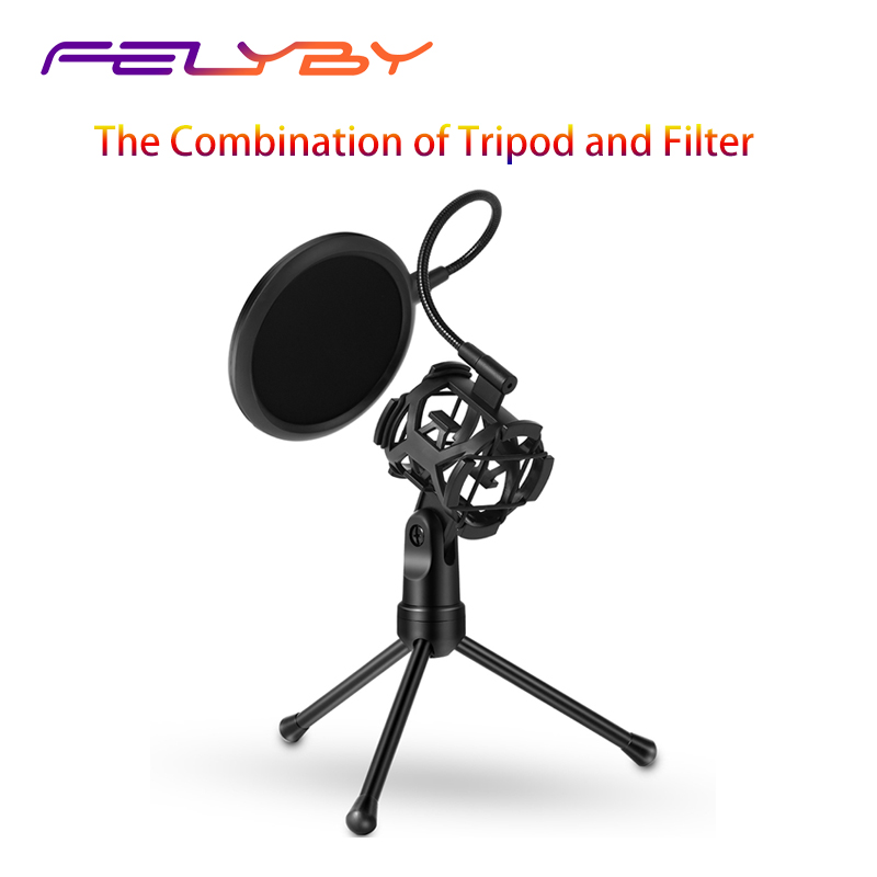 FELYBY Microphone Shock Mount Holder Wind Pop Filter for Broadcast/Game/Video Conference