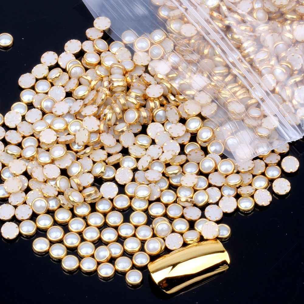 100 pçs 4mm 5mm 6mm muitas cores meia redondo pérolas de metal strass diy prego arte contas beleza brilho decoração
