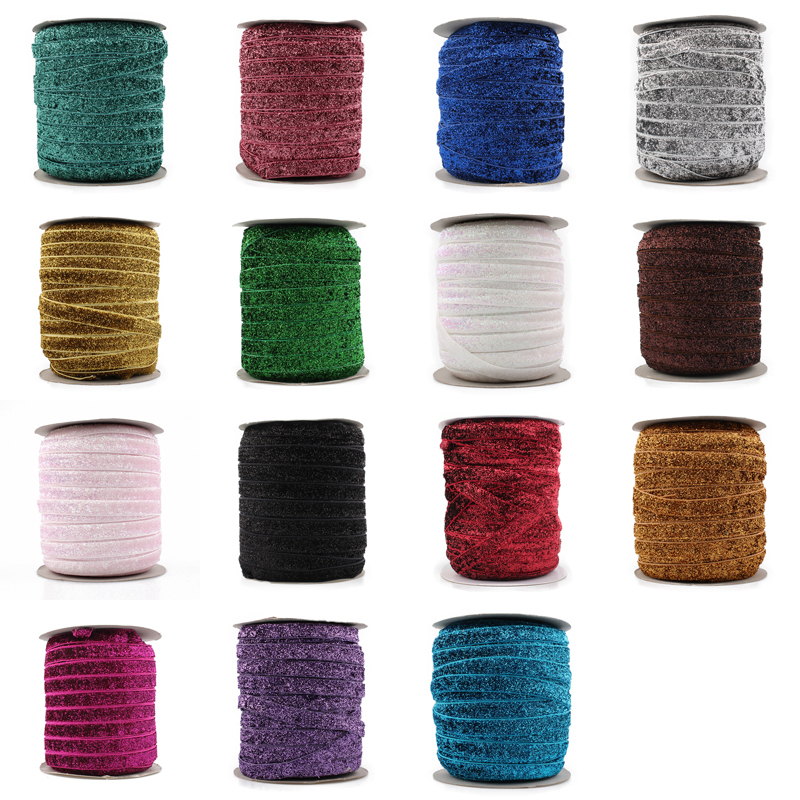 "Retail 15colors 1pc = 50yards 3/8 ""Elastic Glitter Velvet Ribbon Ornaments Metallic Elastic Band pro děti Dívky Vlasové doplňky"
