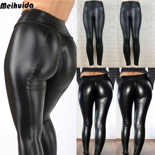 Women Black Wet Look Faux Leather Moto PU High Waist Legging Clubwear  Pants Slim Push Up Long Ladies Sex Skinny Leggings