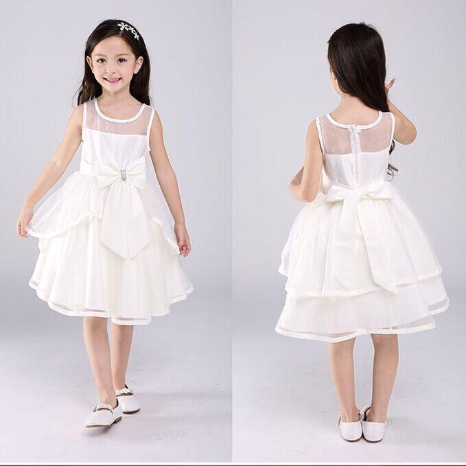 ФОТО girl princess dress flower girl tutu wedding party dresses bow Sleeveless knee-length Children's clothes Performance 2015 new