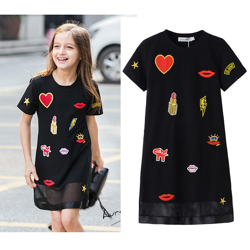 AuroraBaby Girls Dresses Black Cute ricamo Applique Dress For Summer Autunno Bambini vestiti per bambini taglia 6-16 T Partito