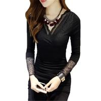 Sexy V neck Lace Shirt Long sleeved T shirt Female 2017 New Autumn Winter Women Korean Cashmere BLACK Tops tees Z13