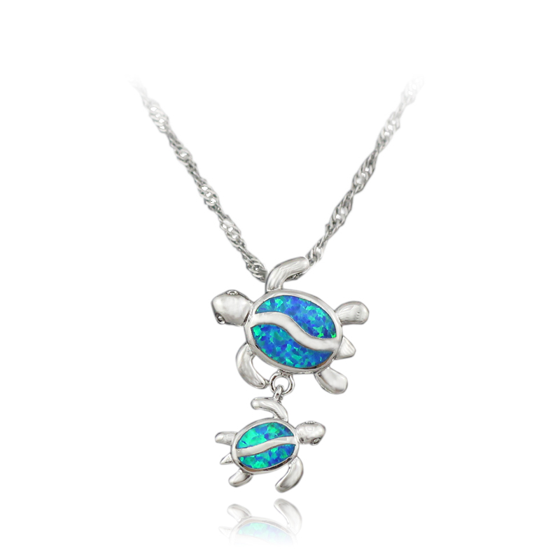 HAIMIS Free Gift Box Free Chains 2017 New Style Blue Fire Opal Women Jewel Silver Plated Opal Pendant For Women 1 1/8'' OP206