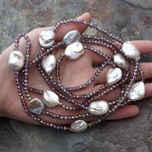 Ручной работы 120 см цвет: белый 11-13 мм речной жемчуг Keshi пурпурного, серого и черного стекла свитер ожерелье