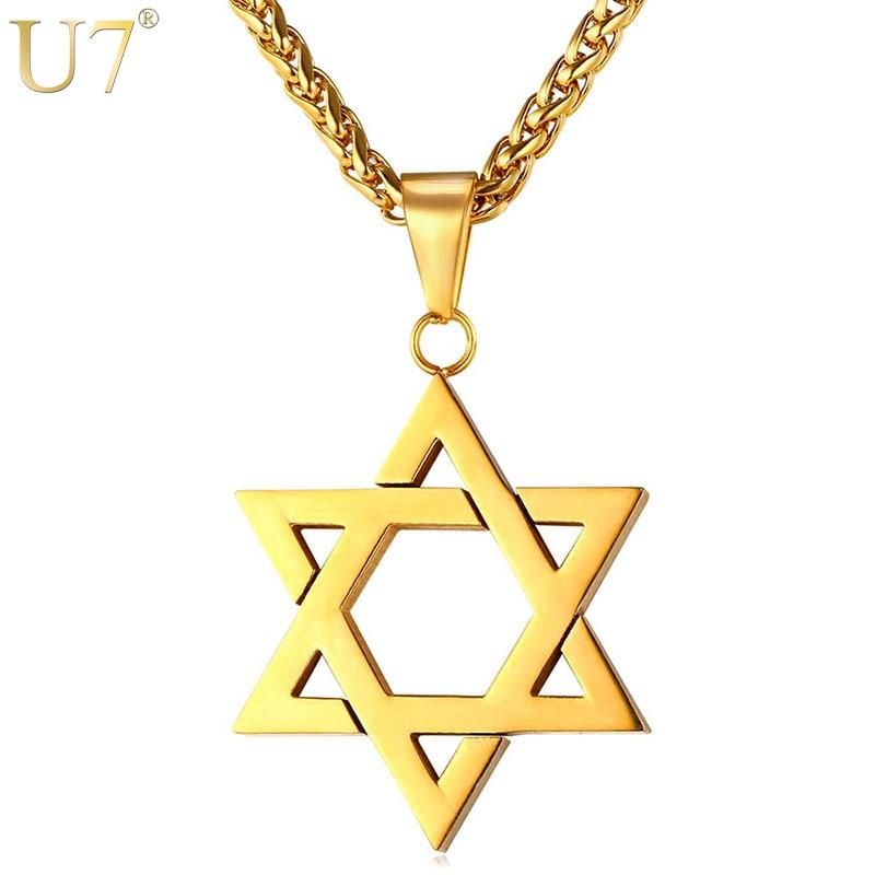 U7 Jewish Magen Star of David Necklace Men/Women Bat Mitzvah Gift Israel Judaica Hebrew Jewelry Hanukkah Pendant Gold Color P723