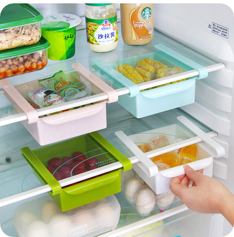 Cans finishing rack Saving space cans finishing shelf box kitchen supplies hand-pull 4-section refrigerator filling beverage storage box