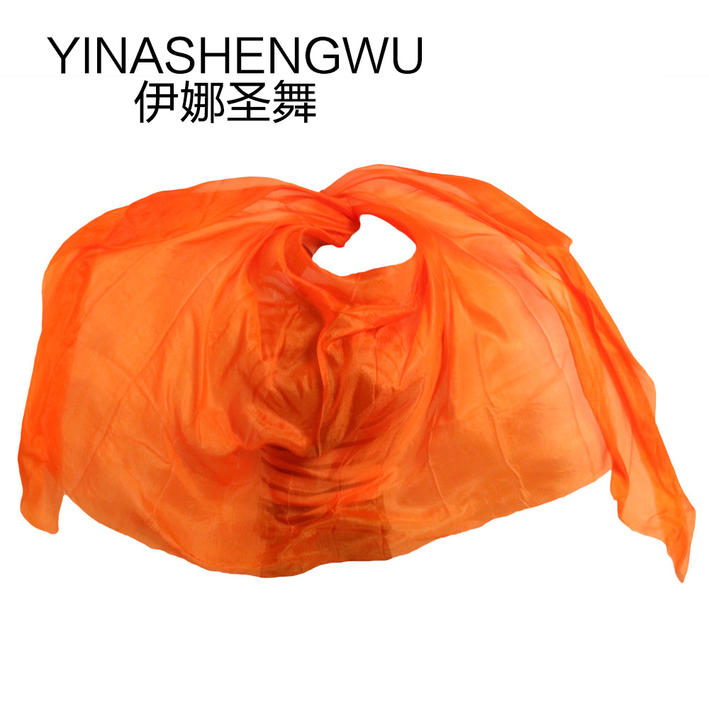 Silk Belly Dance Veils Shawl Scarf Pure Orange Color Belly Dance Practice Performance Silk Veils