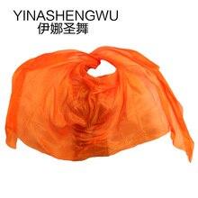 Silk Belly Dance Veils Shawl Scarf Pure orange Color Practice Performance
