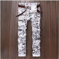 2018 Men Jeans White Printed Fashion Male Unique Cotton Stretch Jeans Mens Casual Character Pattern pantalon hombre Biker Jeans