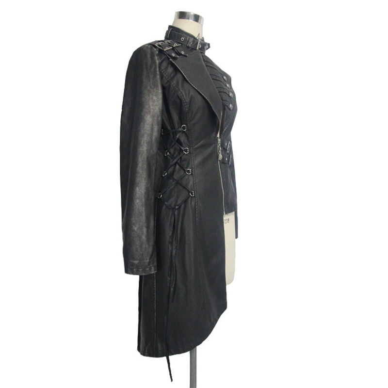 Boucle Manches Noir Avec Diable Sexy Col De Punk Femmes Manteaux Asymétrique Lourd Cuir Mode En Pour Longues Vestes Steampunk Faux qnUqA6
