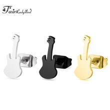FairLadyHood Guitar Stainless Steel Stud Earrings For Women Gold-color Fashion Jewelry Small Stud earrings Ear  bijoux