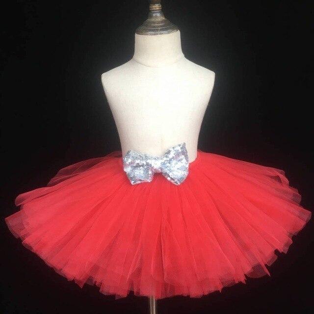 6b759fd66 Niñas falda tutú rojo bebé pettiskirt tul mullido Ballet tutú con plata  lentejuelas arco embroma Faldas