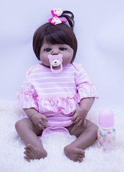 cute Princess lucy doll reborn babies Super realistic silicone reborn baby dolls 55cm lifelike black skin DIY toys for girl gift