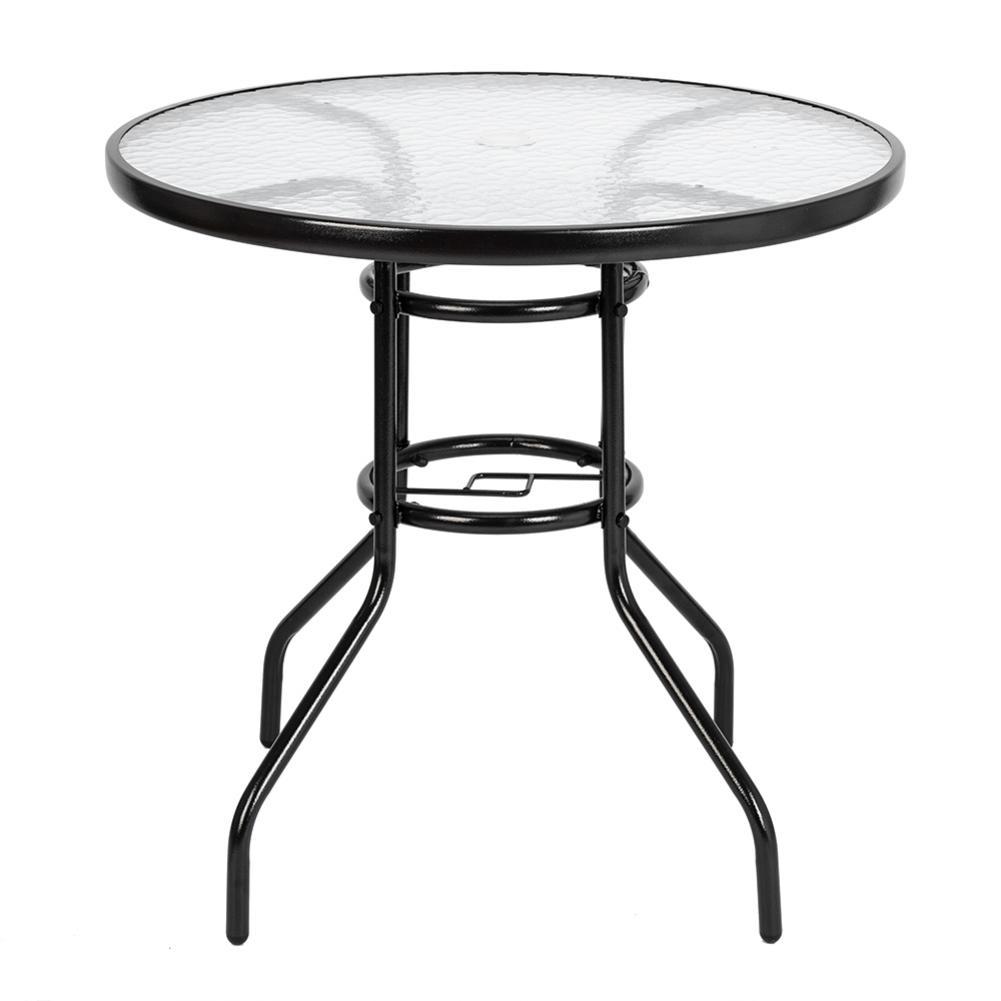屋外ダイニングテーブルラウンド現代強化ガラステーブル庭ガラスコーヒーレジャーテーブル -