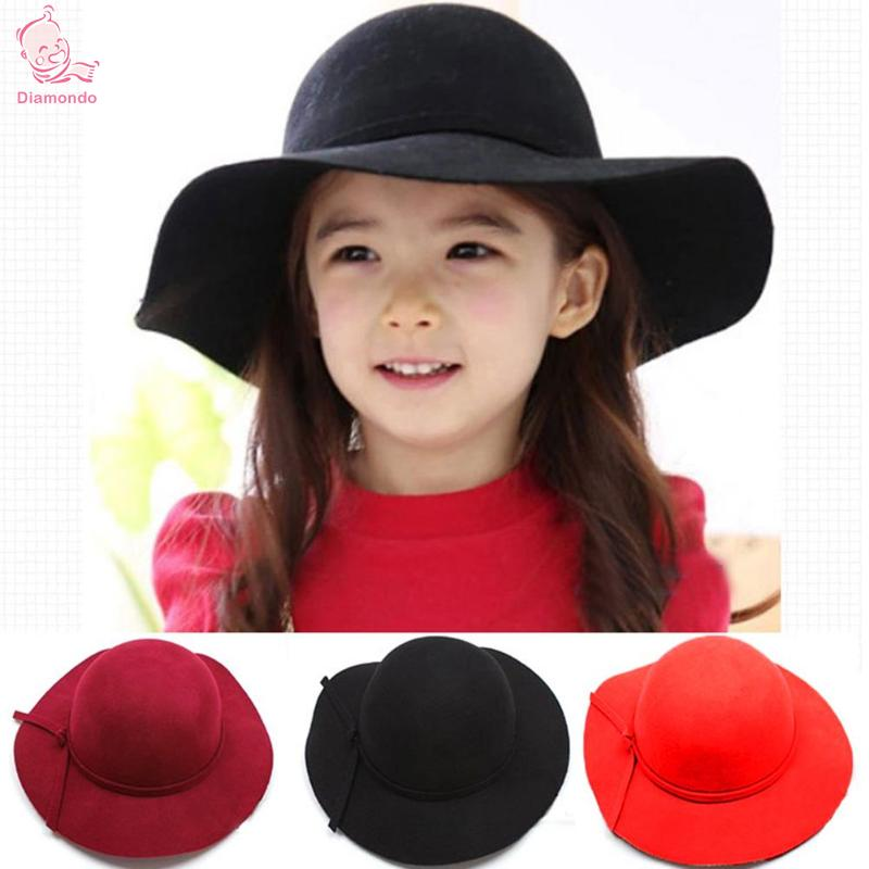Fashion Kids Hats Wide Brim Fedora Wool Hat Sun Beach Cap Chapeu Sombrero Vintage Hats Girls Black Red Winter Floppy Gorras floral pattern wide brim oversized summer hat