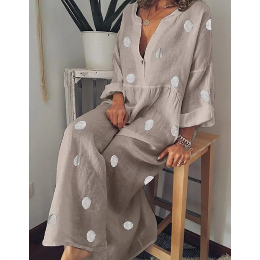 Plus Size Women Bohemian Maxi Dress Summer Sexy V Neck Long Sleeve Polka Dot Dress Casual Loose Beach Dresses in Dresses from Women 39 s Clothing