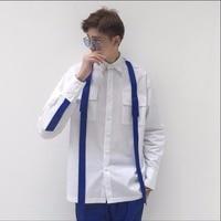 2019 New Men's fashion casual thread ribbon pleated patchwork white casual long sleeve shirt nightclub DJ shirts singer costumes