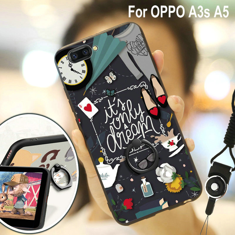 6.2'' OPPO A3S Case Fashion Funny Cute Cartoon Rubber Hard PC + TPU Cover Cases For OPPO A3 S With Finger Ring Holder+ Straps