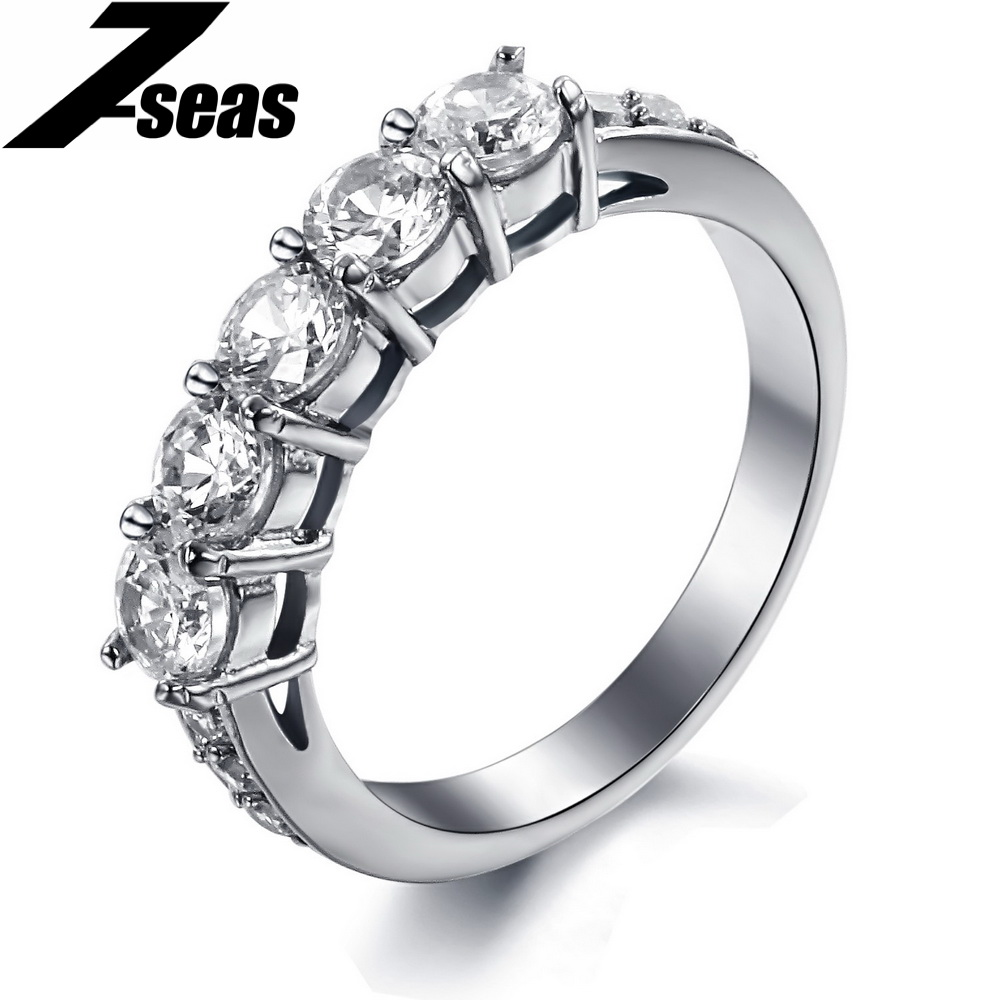 Fashion Hearts & Arrows cut big shiny crystal ring stainless steel lady finger jewelry for women HOT 7645