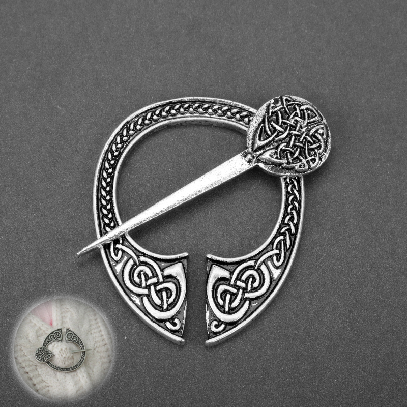MQCHUN Norse Viking Brooch Penannular Celt Knots Pin Shawl Coat Cloak Pins Buckle Badge Medieval Jewelry For Women