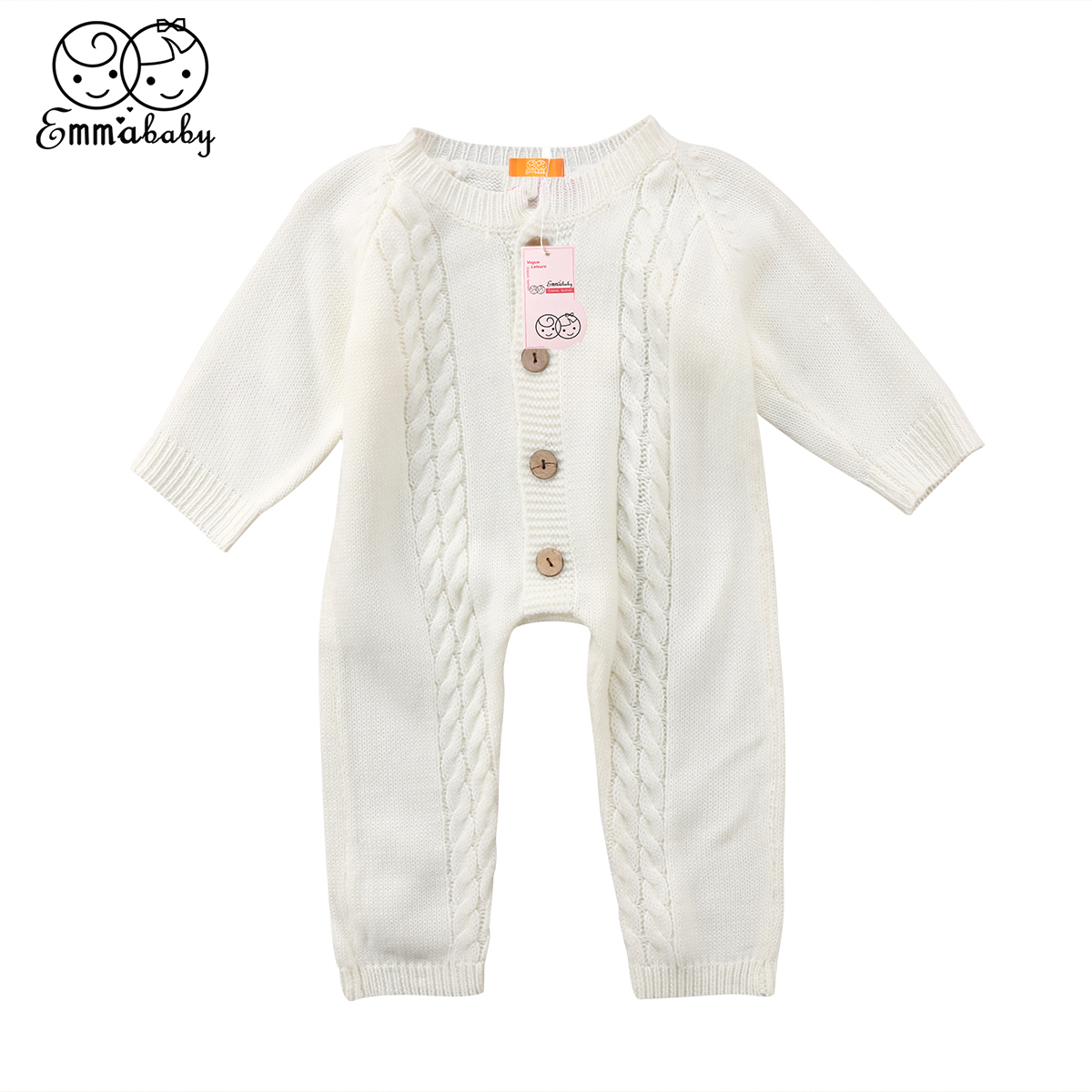 Emmababy Newborn Kid Baby Boy Girl Infant Long Sleeve Wool Knitting Romper Cotton Clothes Outfits