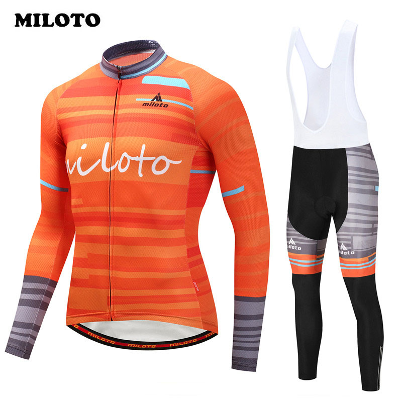 Miloto 2017 pro Bike Team Cycling Clothing Autumn Long Sleeve Cycling Jersey Set Quick Dry mtb Bicycle Jersey Bike Wear Clothes shark skin one piece swimsuit plus size swimwear women 2017 swim competition bathing suit bodysuit surfing suits wetsuit black