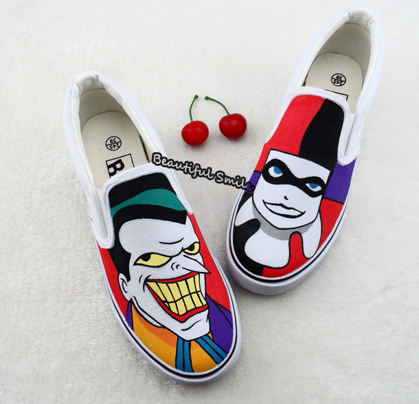Shoe Sketches Picture - More Detailed Picture About Cartoon Hand Drawn Joker Harley Quinn Slip ...