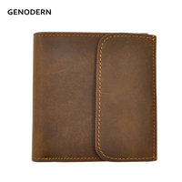 GENODERN Genuine Leather Men Wallets With Coin Pocket 100 Top Quality Short Male Purse Carteira Masculina