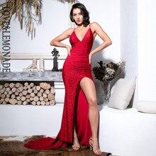 4b2640c65831b Amour & limonade Sexy rouge profond col en v découpé moulante brillant  élastique tissu Maxi robe LM81709-1