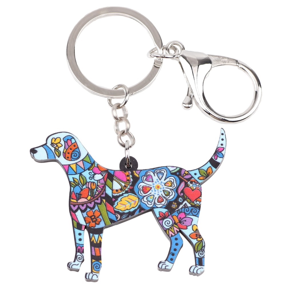 Bonsny Acrylic Dog Jewelry Puppy Beagle Pets Key Chain Key Ring Pom Gift For Women Girl Bag Charm Keychain Pendant Jewelry