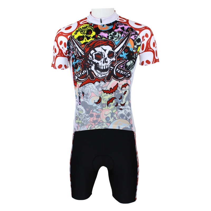 Pirate Men top Sleeve Cycling Jersey Perspiration Breathable Bike Clothing With Skulls Multicolour Cycling Clthing Size S-6XL IL 2016 new men s cycling jerseys top sleeve blue and white waves bicycle shirt white bike top breathable cycling top ilpaladin