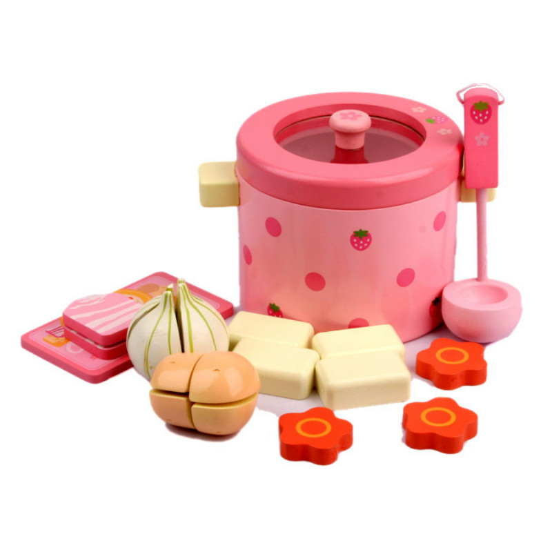 NEW Baby Toys Super Cute Simulation Vegetable Hot Pot Wooden Toys Play FoodPlay Food Set Birthday Gift