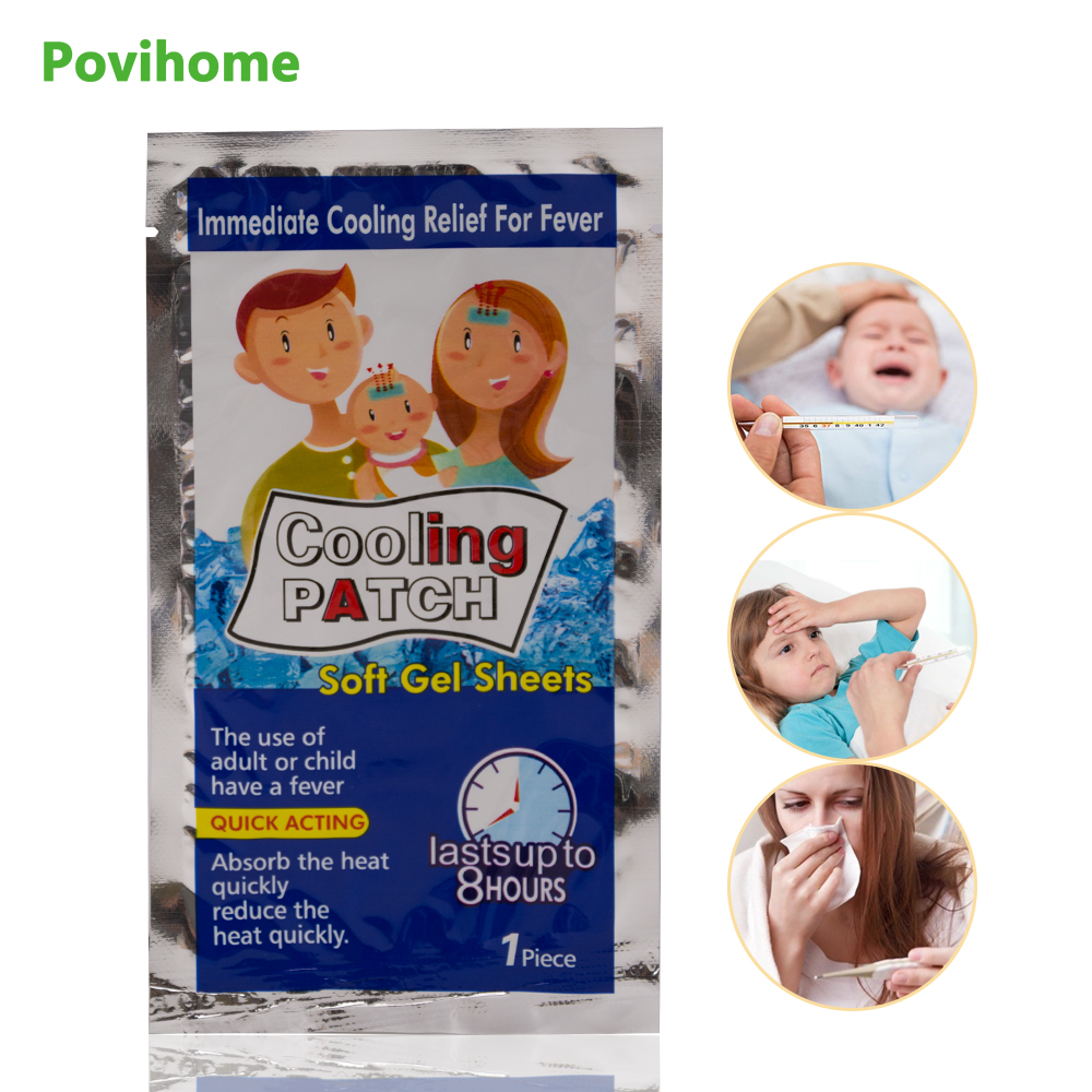 Cooling Patches Baby Fever Down Medical Plaster Migraine Headache Pain Pad Lower Temperature Ice Gel Polymer Hydrogel C1593