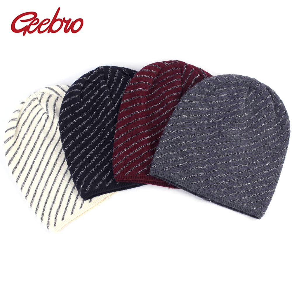 Geebro Women's Wool   Beanie   Hat Autumn Silver Line Knitted   Skullies     Beanies   for Women Cashmere Thin Warm Slouchy Balaclava Hats