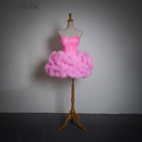 New Fashion Cute Girls Short Mini Feather Strapless Pink Sweet Bridesmiad Dresses Prom Dresses Free Shipping