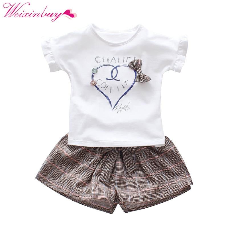 T-shirt + Plaid Shorts Set Baby Girl Clothes Fashion Summer Cartoon T-shirt + Plaid Shorts Baby Clothes Beach Girl T-shirt S