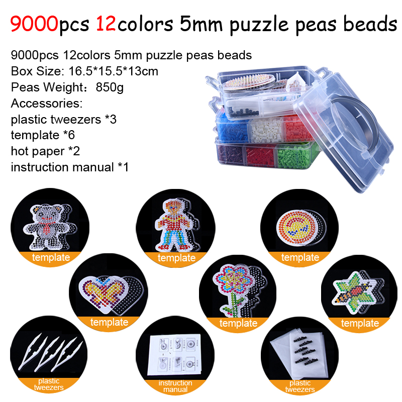 DOLLRYGA 9000pcs/set 12Color Hama Beads 5mm DIY Pegboard Tool Tweezer Puzzle Peas Beads Board Colors Puzzles Toys For Children