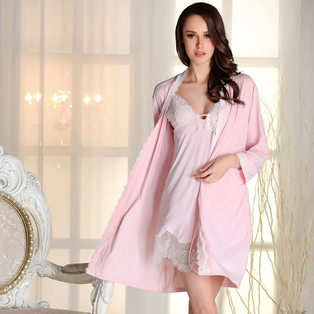 Autumn Ladies Sexy Lace silk nightgown two piece long sleeved Robe