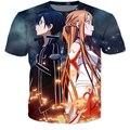 Lo nuevo del Anime espada de arte en línea camisetas mujer hombre verano Hipster 3d shirt Cartoon SAO camisetas camisetas casual tops