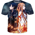 Novo Anime espada de arte em linha t-shirt mulheres verão moderno 3d dos desenhos animados são camisetas casual tops