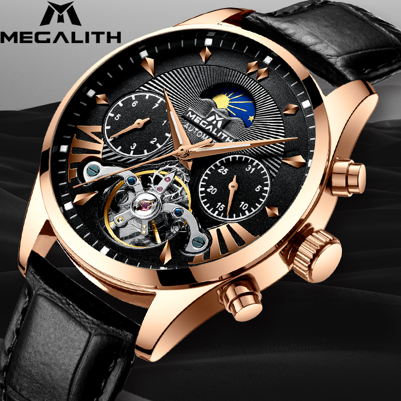 MEGALITH Fashion Casual Automatic Mechanical Watches Men Sport Tourbillon Automatic Watch Waterproof Date Week Montre Homme
