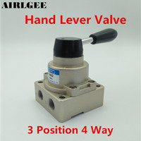 HV 02 Air Flow Control 3 Positions 4 Ways Pneumatic Hand Lever Valve
