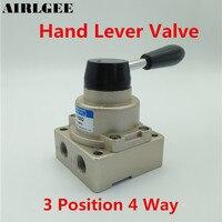 HV 02 Air Flow Control 3 Positions 4 Ways Pneumatic Hand Lever Valve