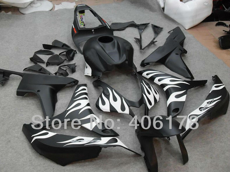 Hot Sales,Cheap Fairing For Honda F5 CBR600RR 2007 2008 Race Bike Matte Black and White Flame Body Kits (Injection molding)