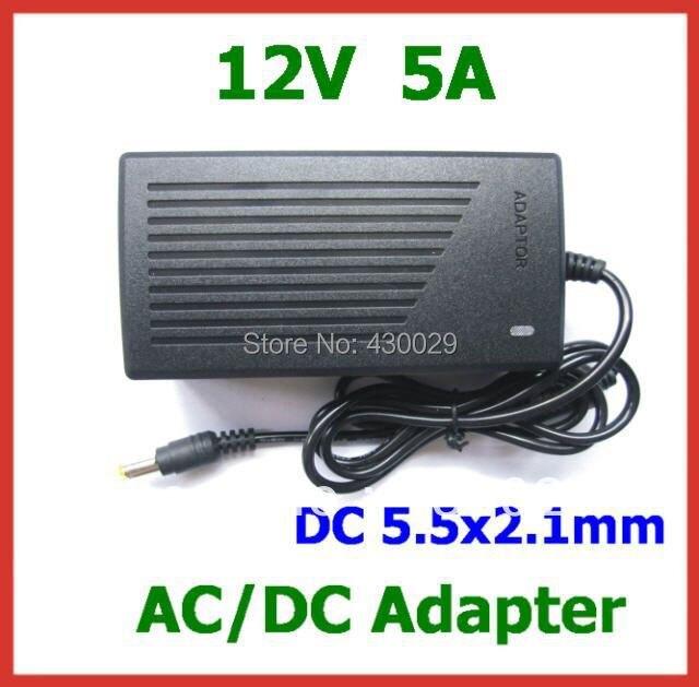 AC DC Мощность адаптер 12 В 5A 60 Вт Питание DC 5,5x2,1 мм AC 100- 240 В с AC кабель для светодиодный и т. д